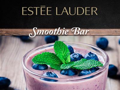 Postal de receta bebida moras asociada a la marca estee lauder